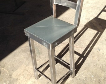 Industrial Steel Bar Stool with Backrest
