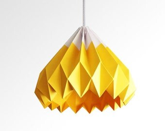 Items similar to Origami Paper lampshade -Zan-Pale Yellow ... - photo#23