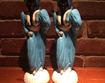 Mid Century Hollywood Regency Blackamoore Genie Sultan Nubian Figure