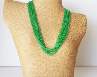 Peridot green necklace,seed bead necklace, green statement necklace, bridesmaid necklace,seed bead multistrand,beaded necklace,light green