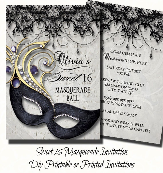 Sweet sixteen masquerade party invitation by theinspirededge for Maquerade invitations