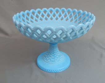 Outstanding Antique Challinor and Taylor Blue Milk Slag Glass Compote Bowl, Circa 1880s