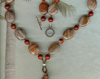 Both Sides Now - Carved Succor Creek Jasper Bird Pendant, Striped Agate, Red Jasper, Freshwater Pearls, Sterling Silver Necklace