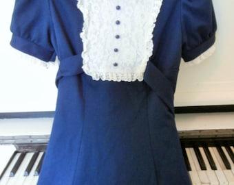 1960's, Navy, Mini Dress, Lace Collar