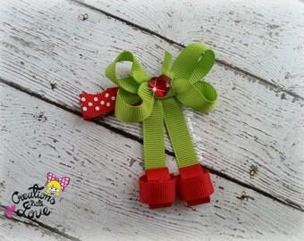 Cherries Ribbon Sculpture Hair Clip. Cherry Hair Clip.