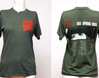 Vintage 80's U2 War 1983 Concert T shirt with Tour dates / Authentic Rock T shirt, Small