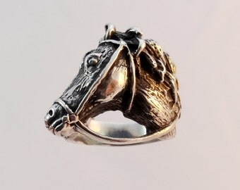 Silver Horse Ring, Horse Jewelry in Sterling Silver, Animal Ring, Animal Wrap Ring, Sterling Silver Ring, Silver Animal Jewelry, Silver Ring