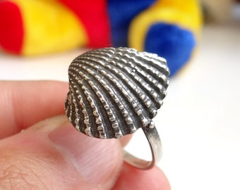 STUNNING Sterling Silver Ring Shell Ring COOL Nautical Ring Best Selling Solid Silver Nautical Jewelry, Sizes - 3, 4, 5, 6, 7, 8, 9, 10