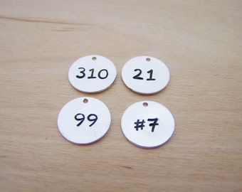 Number Charm - Silver Number Disc - 13mm Disc - Handmade Charm