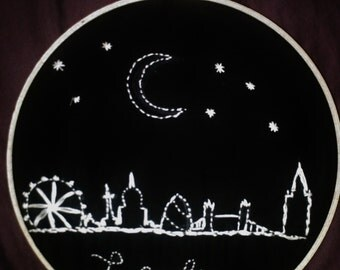 London Skyline Embroidery Hoop Art // Wall Hanging
