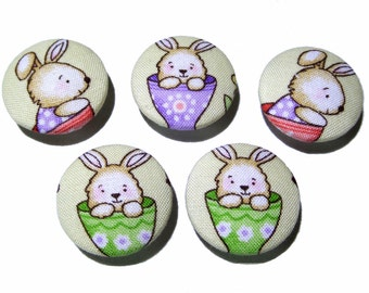 Fabric covered buttons, Children buttons, ecru green buttons, cloth buttons, medium buttons, animal buttons, patchwork fabric button
