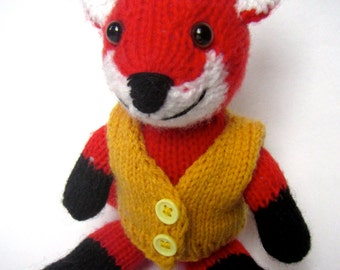 Red Hand Knitted Fox With A Yellow Waiscoat