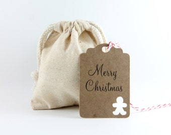 Christmas Gift Tags, Set of 10 Kraft Tags with Gingerbread Man, Personalized Christmas Tags, Holiday Tags, Christmas Gift Tags, Gingerbread