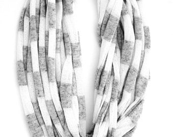 Fabric scarf, gray scarf, fabric accessories, gifts for her, necklace scarf, infinity scarf, white scarf, stripe fabric scarf
