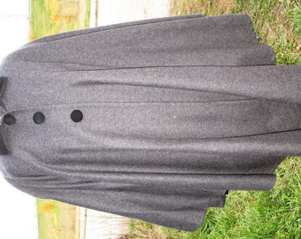 100% Wool Gray & Black Rafael Lined Cape, As Found, Reclaimed