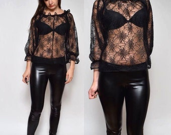 Vintage Lace Blouse Top with Spiderweb and Spider Design