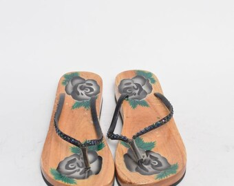 Vintage Wooden Black Rose Paint Platform Sandals/Flip Flops