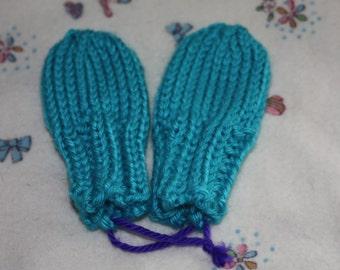 Blue Baby Mittens - Preemie Mittens or Newborn Mittens - Blue Mint Thumbless Mittens - Scratch Mittens - Blue Preemie Mittens - Boy Mittens