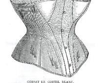 Pattern for Corset en Coutil Blanc, La Mode Illustree No.29, circa 1872