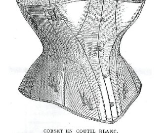 Pattern for Corset en Coutil Blanc, La Mode Illustree No.29, circa 1872