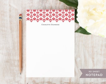 Personalized Notepad - DAMASK BAND - Stationery / Stationary Notepad