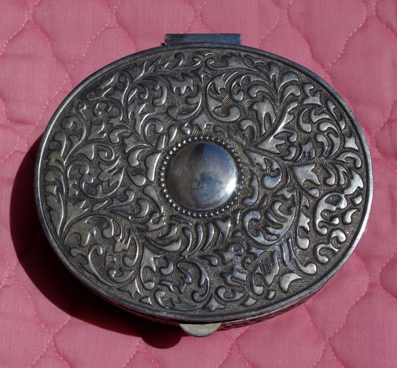 silver oval jewelry box vintage decorative silver plated