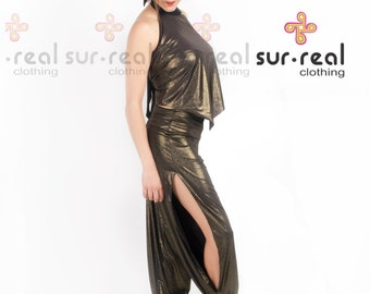 Babucha Aladdin Tango Pants with Side Slits. Metallic Copper. Dance-wear