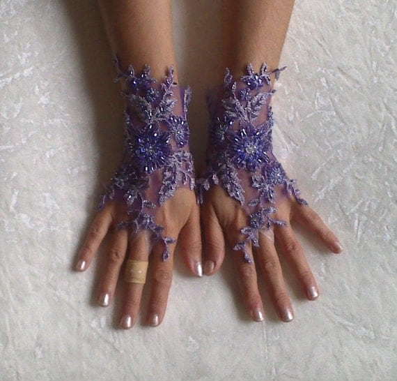 High quality goth gothic beaded luxury purple lace gloves for Lace glove tattoo