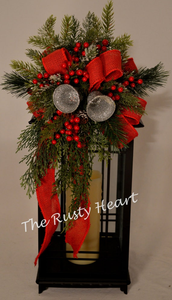 Christmas lantern swag with red burlap ribbon