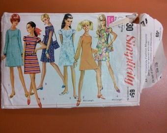 Simplicity 7430 Vintage Dress & Purse Sewing Pattern 1960s 60s Size 11 Junior Petite