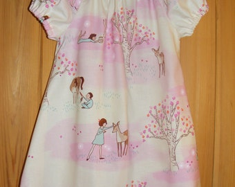 Wander Woods Pink Peasant style Baby Dress Handmade 18-24 months