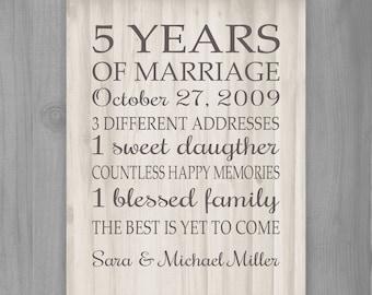 5 Year Wedding Anniversary Gift List : 5th anniversary gift print 5 years wood 10 15 20 25 custom years ...