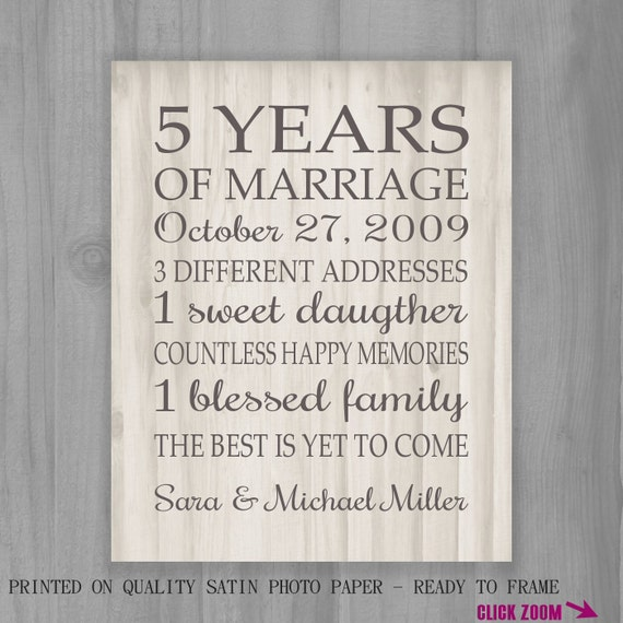 5th Year Wedding Anniversary Gift: 5th Anniversary Gift Print 5 Years Wood 10 15 By