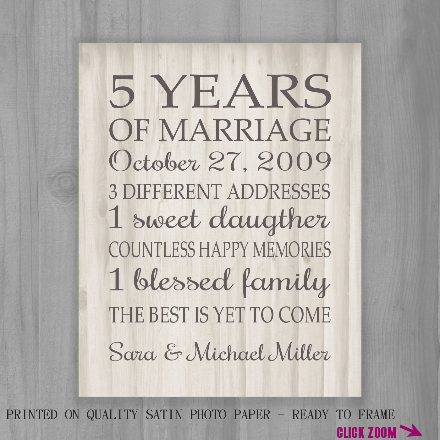 Forty Fifth Wedding Anniversary Gifts: 5th Anniversary Gift Print FAUX Wood 5 Years 10 15 20 25