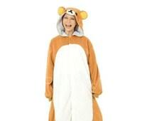 Adult Onesie Pajamas Kigurumi Rilakkuma Pajamas for Women Men Boy Flannel Pajamas Unisex  Animal Cosplay Slipper Not Included