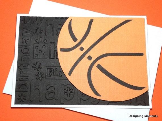 items similar to basketball happy birthday card, handmade, Birthday card