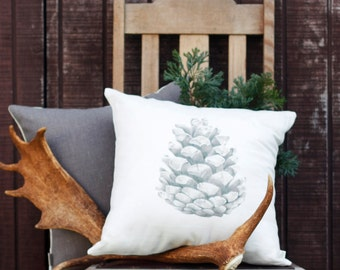 Pinecone Pillow, throw pillow, linen pillow, made in Australia, organic throw, home decor, sofa pillow, original artwork, cover only