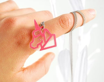 Little Unicorn Pendant Neon Pink & Silver Necklace