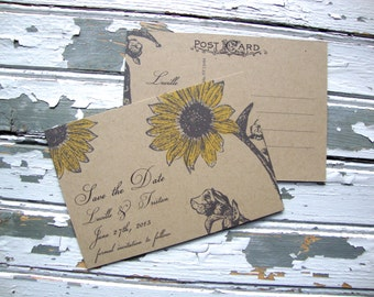 Rustic Save the Date Postcard, Sunflower Save the Date, Eco Friendly, Fall Wedding Save the Date