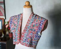 Vintage Ethnic Traditional South American Peruvian Andean Embroidered Vest with Satin Details