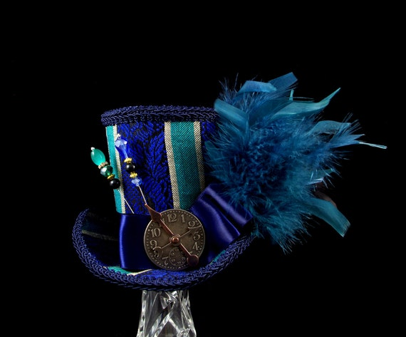 Teal, Blue, and Gold Striped Steampunk Empress Collection Large Mini Top Hat Fascinator, Alice in Wonderland, Mad Hatter Tea Party, Derby
