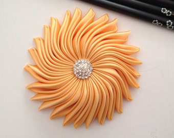 Orange Fascinator, Bridesmaid Hair Accessories, Wedding Hair Clip, Tangerine Hair Clip, Satin Flower Fascinator