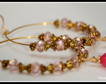 Maya Earrings - Light Pink Crystals, Antique Bali Spacers and 14k Gold Fill Wire wrapped Hot Pink Chalcedony Earrings