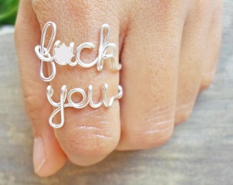 Dainty F*ck You rings / Mature ring / silver f word ring popular word ring / gold copper silver,  3-4 weeks (US) 3-6 weeks (Canada, France)