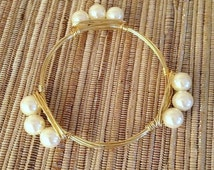 the CLASSIC PEARL bangle bracelet (tarnish resistant)--Bourbon and Bowties Inspired