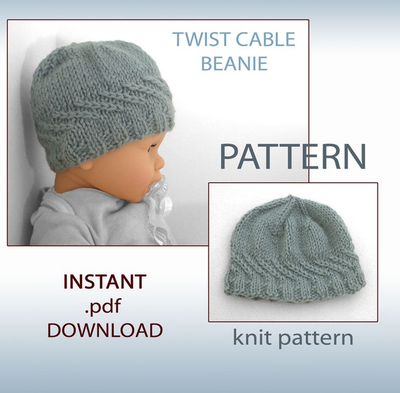 Knitting Pattern Cable Hat Baby : Knitting Pattern Baby Hat Pattern Newborn Hat Pattern Knit
