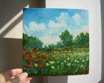 Original painting, oil, impressionist, landscape, poppies, Italy, flowers, field, trees, Sessa