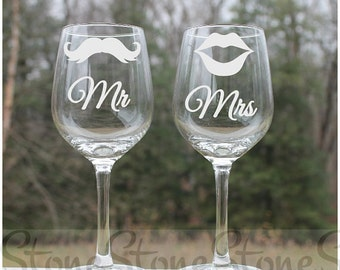 mr and mrs wine glasses, Etched Wine Glass, mustache, lips, Set of 2 - 12oz, Wine Glasses, etched wine glass mustache lips, Wine glass