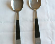 Vintage Mid Century Modern Nasco Japan Stainless Steel Salad Fork and Spoon Set