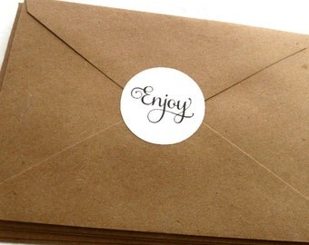 Enjoy Stickers - 60 Count - Round Sticker - Product Label - White Labels - 1.5 in - Product Sticker - Wedding Favor Sticker